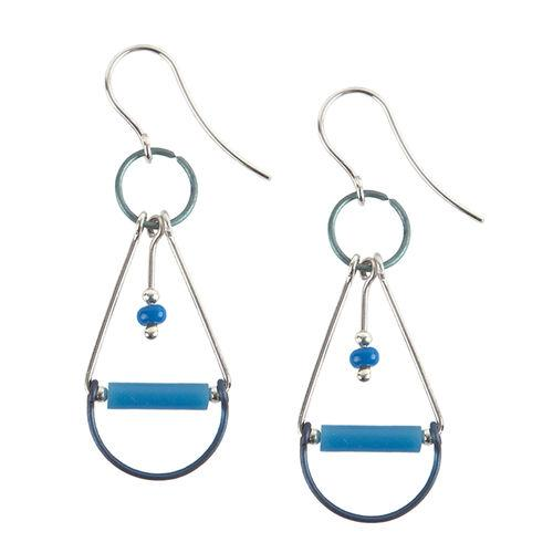 Jody USA Free Form Blue Silver with Glass Tube Plaything Drop Earring
