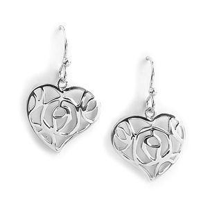 Jody Coyote Wilder Hearts Abstract Filigree Heart Earring
