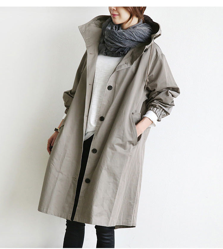 Oversized Women's Mid-Length Loose Windbreaker Jacket