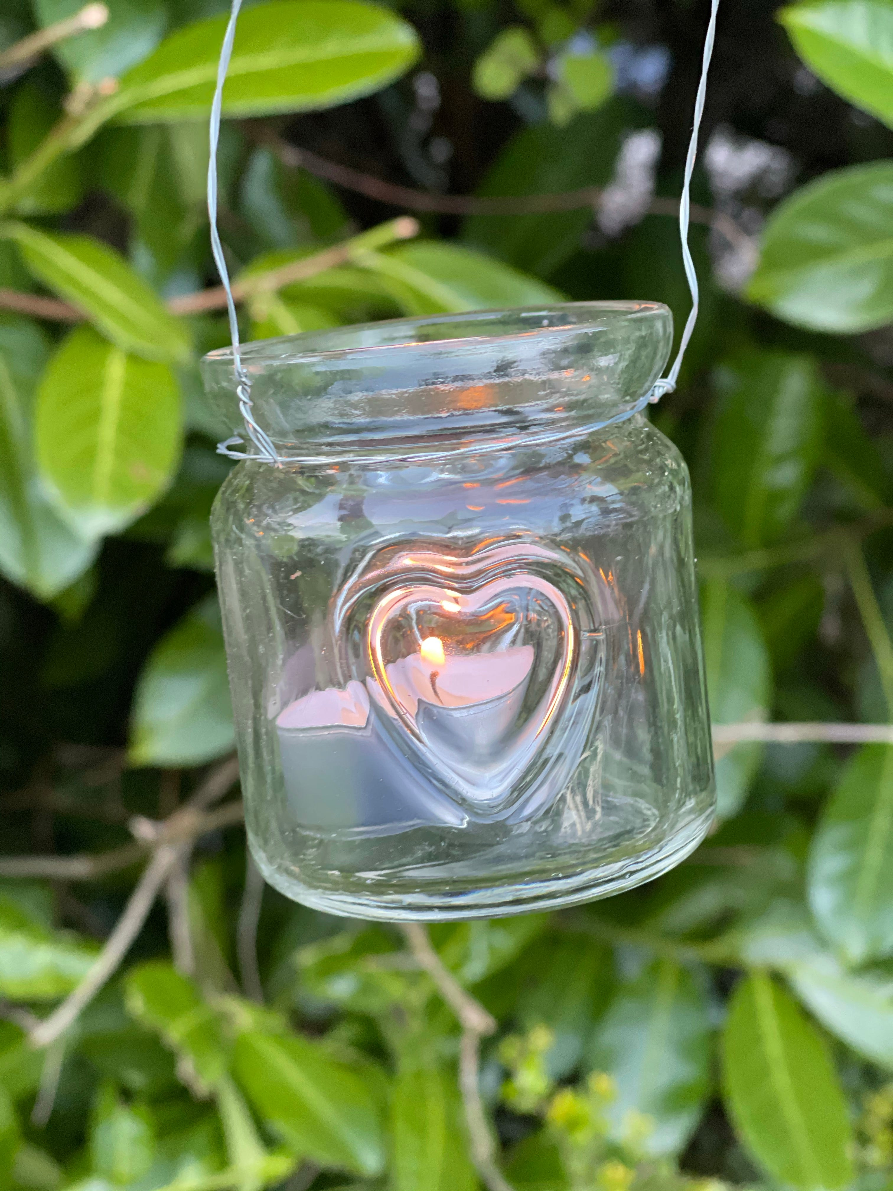 Hanging Mini Heart Jam Jar