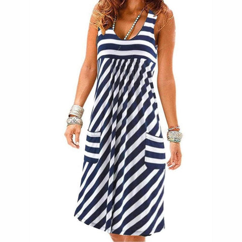 Striped Large Size Summer Dress - My Amigo