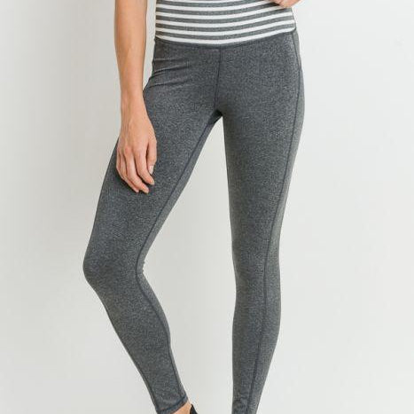 Heather Gray Striped Leggings