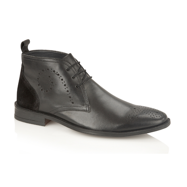 Pembroke Leather Lace-up Boot - Black