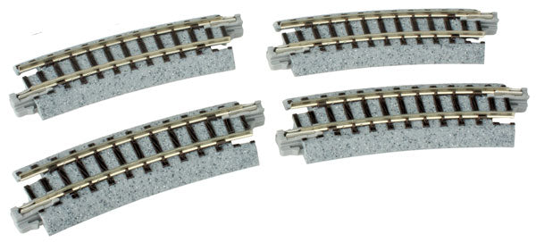 "Kato 20101 N Scale UniTrack 249mm 9-3/4"" Radius Curve 15-Degree (4 Pack)"