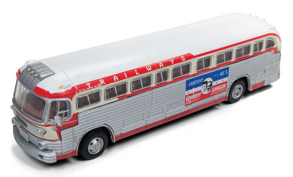 Classic Metal Works 32315 HO Scale GMC TD 3610 Transit Bus Trailways Kennedy Campaign