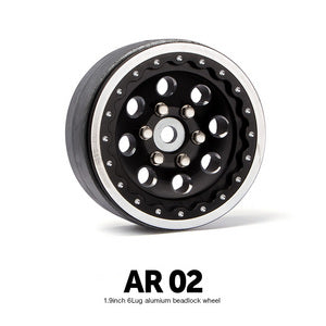 "Gmade 70354 1.9"" AR02 6 Lug Aluminum with Black Beadlock Wheels 2 Pack"