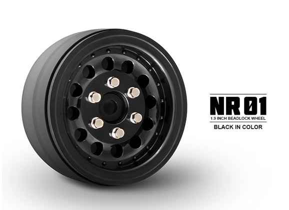 "Gmade 70224 1.9"" NR01 1/10 Scale Crawler Beadlock Wheels Black 2 Pack"
