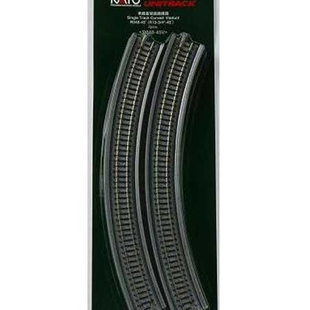 "Kato 20-530 N Scale UniTrack 348mm 13-3/4"" Radius 45-Degree Viaduct (2 Pack)"
