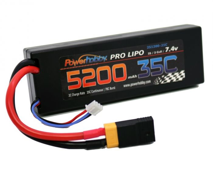 Powerhobby 2S 7.4V 5200mAh 35C Lipo Battery Pack with XT60 Plug and Traxxas