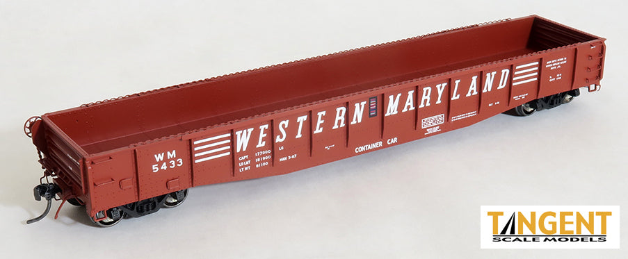 "Tangent Scale Models 10927-01 HO Scale Bethlehem 52'6"" Western Maryland ""1967 Repaint"" WM 5433"