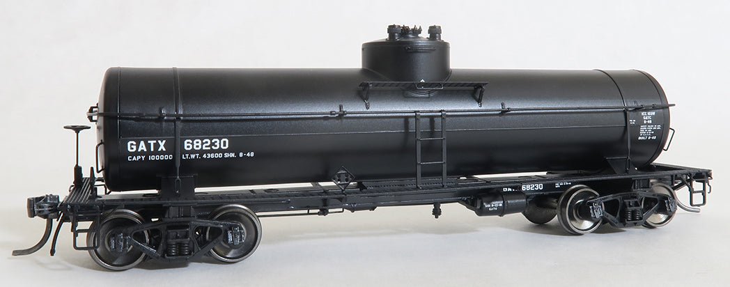 Tangent Scale Models 22010-03 HO Scale 1948 8000 Gallon Welded Tank Car Black Lease GATX 68234