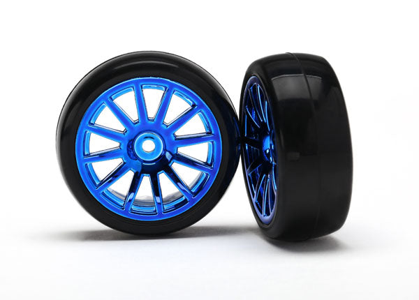 Traxxas 7573R 12 Spoke Blue Chrome Wheels with Slick Tires 2 Pack for 1/18 LaTrax Rally Car