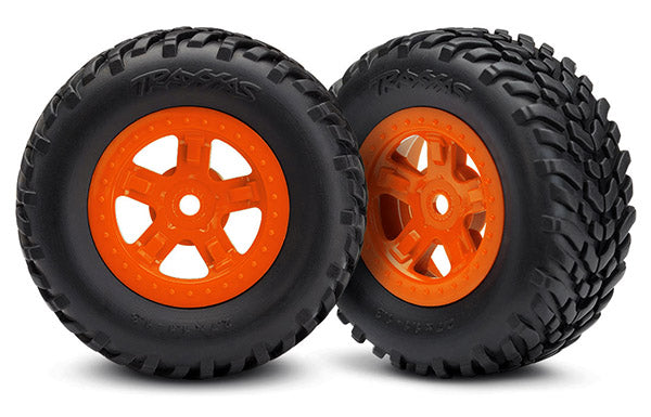 Traxxas 7674A Orange Assembled Tires and Wheels for 1/16 4WD Slash and Latrax Prerunner