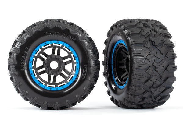 Traxxas 8972A Tires Mounted on Blue Wheels with TSM Rated Tires for MAXX 2 Pack