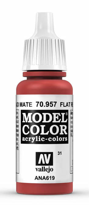 Vallejo 70.957 Model Color Acrylic Paint Flat Red 17ml Bottle