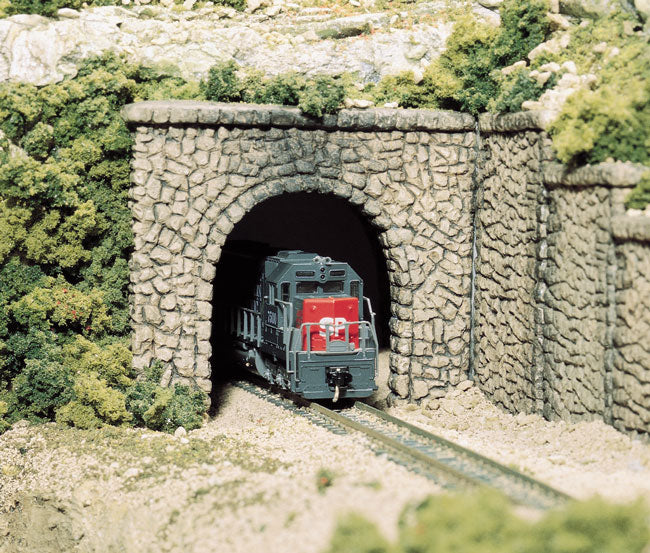 Woodland Scenics C1255 HO Scale Single Track Tunnel Portal - Random Stone (2-Pack)