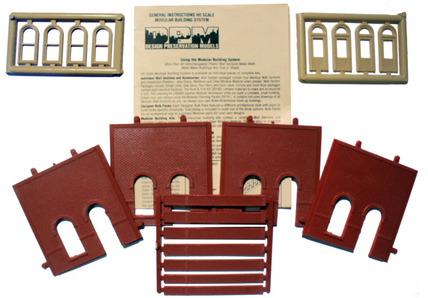 Woodland Scenics DPM 30101 HO Scale Street Level Wall Sections - Arched Entry Door 4-Pack