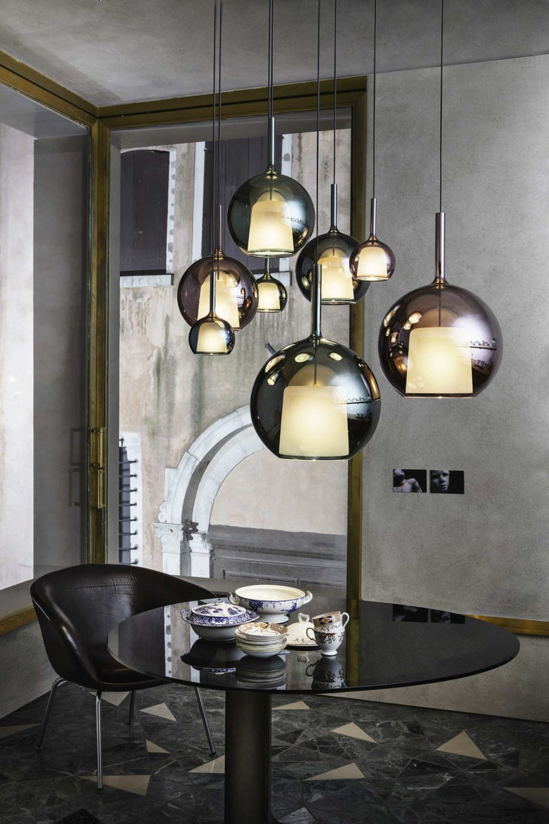 Pendant lamp in Blue, Pink Gold and Black borosilicate glass.