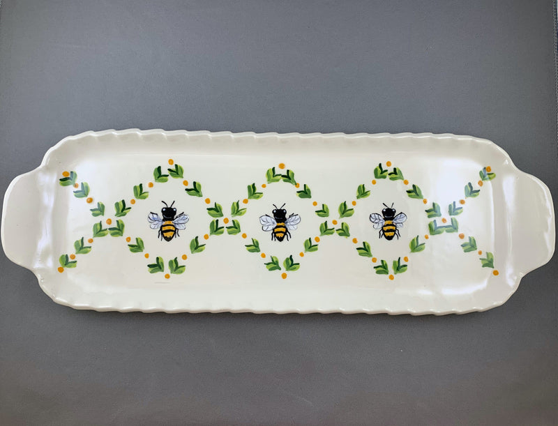 Bee Medium Handled Rectangular Tray