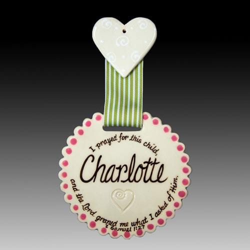 Blessing Name Tile- Pink/Green with Heart