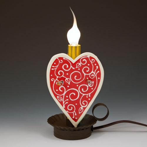 Heart Scroll Candle Lamp