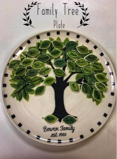 family tree plate w/ many leaves