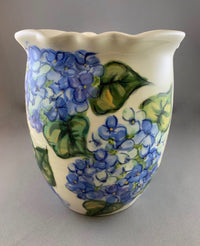 Blue Hydrangea Oval Celebration of Life Vase (slightly angled view)