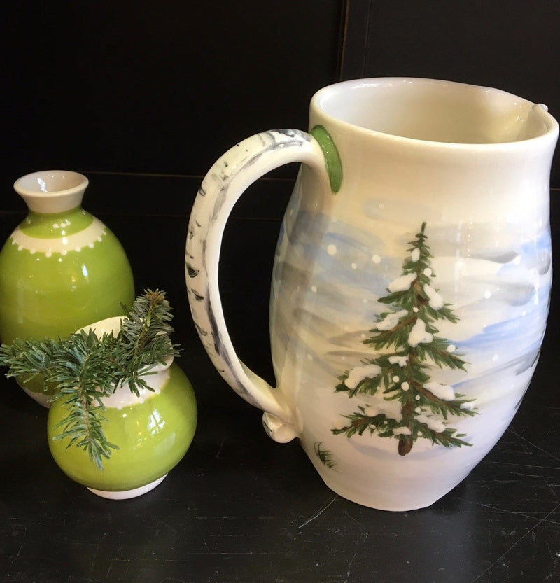 Winter Pine Pitcher with Birch Handle