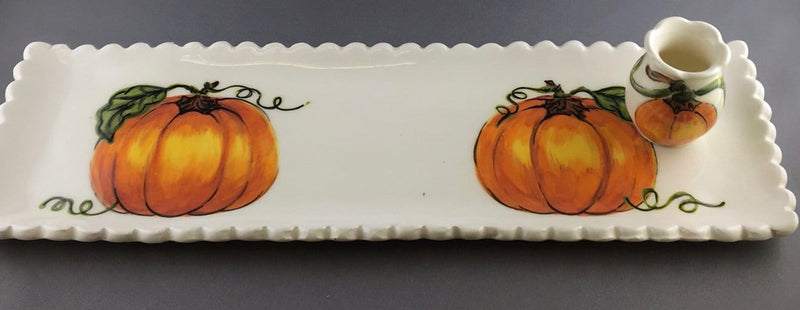 Pumpkin rectangular vase with Mini Vase