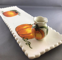 Pumpkin Mini Vase with Pumpkin rectangular plate