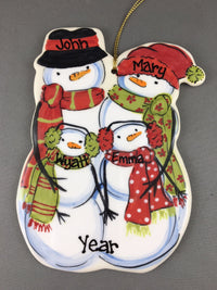 Snowman Couple with Children