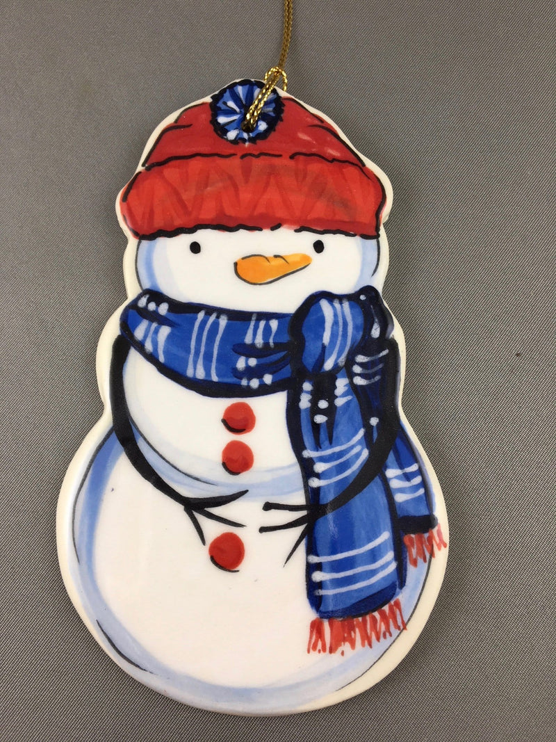 Small Snowman Ornament: Blue and Red