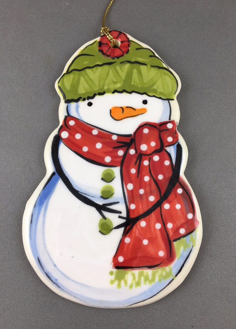 Small Snowman Ornament: Red and Green