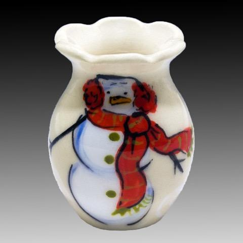 Snowman Mini Vase with white background