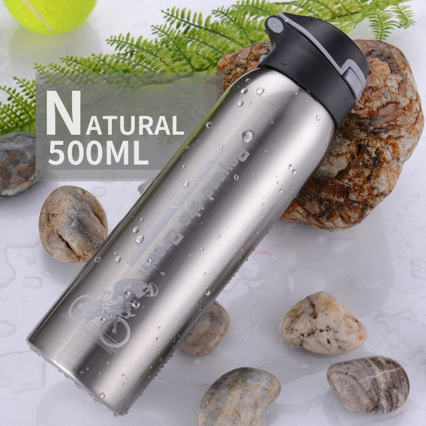 500ML Bike Water Bottle Mountain Bike Riding Bicycle Kettle Double Stainless Steel Thermos Cup Warm-keeping Jug Sports Outdoor