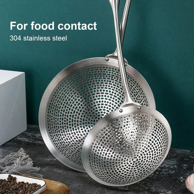 Kitchen Gadgets Stainless Steel Filter Screen Slotted Spoon Straining Ladle with Handle Kitchen Skimmer Strainer