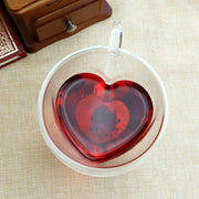 Heart Love Shaped Double Wall Glass Mug Milk Lemon Juice Cup Drinkware Lover Coffee Cups Mug Gift