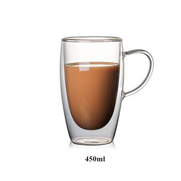80/250/350/450ml Heat-resistant Double Wall Glass Cup Beer Coffee Cups Handmade Healthy Drink Mug Tea Mugs Transparent Drink ware