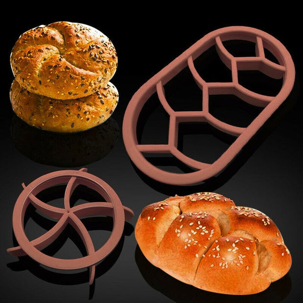 2 Round Circular Oval Bread Molds Fan Shaped Pastry Cutter Dough Cookie Press Bread Biscuit Moulds Kitchen Pastry Baking Tools