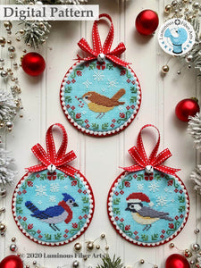 Christmas Bird Trio by Luminous Fiber Arts DIGITAL PDF Pattern