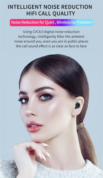 Wireless Earphones Bluetooth LED Display With 3300mAh Power Bank Microphone