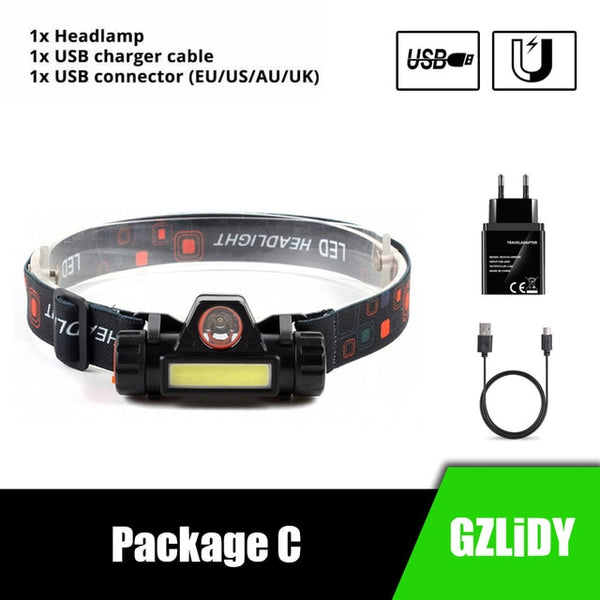 Waterproof LED headlamp COB work light 2 light mode