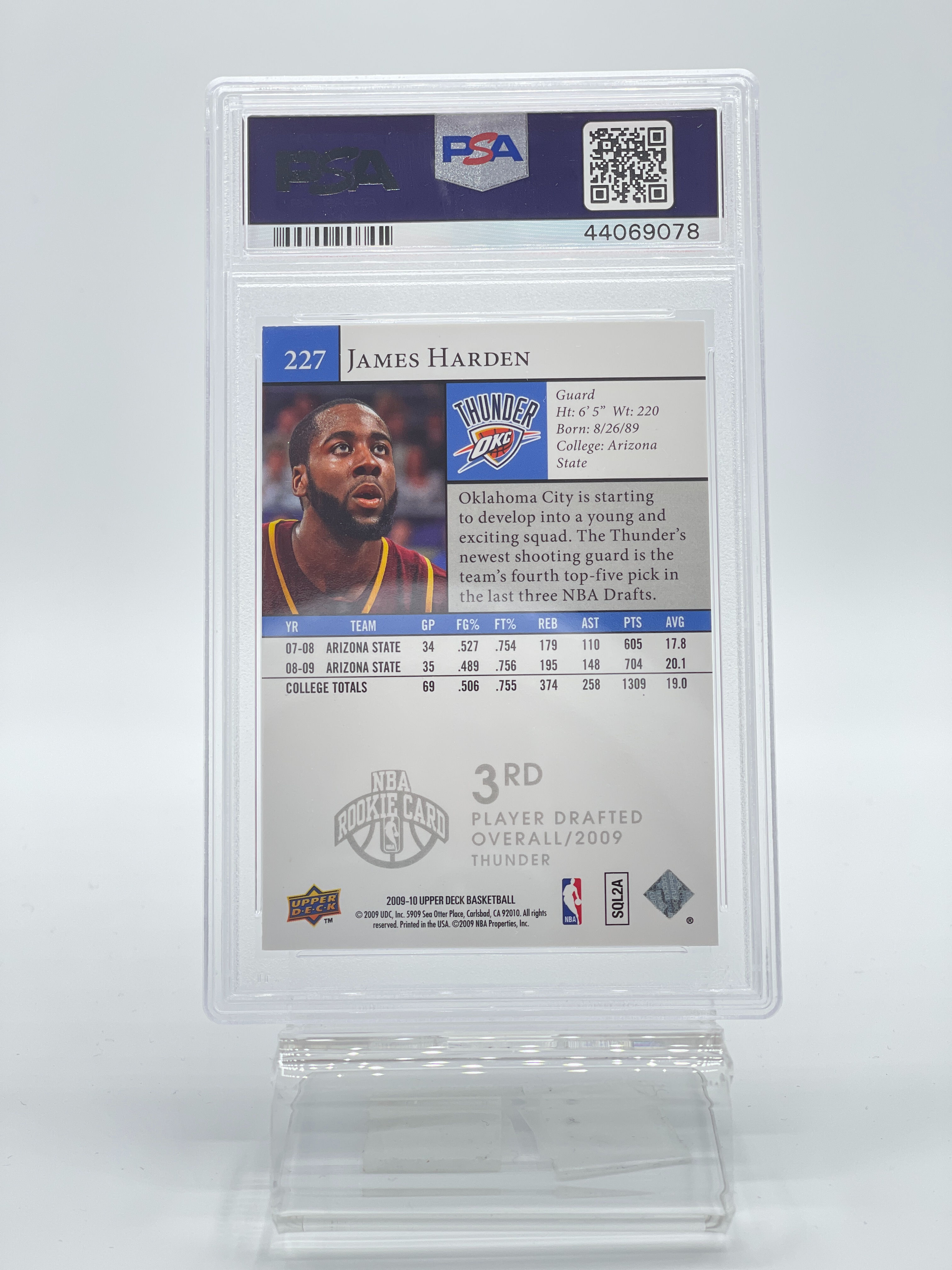 2009 Upper Deck James Harden Rookie Card PSA 9