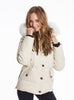 Moose Knuckles - 3/4 Length Ladies Jacket W/Fur Hood (Cream/White)