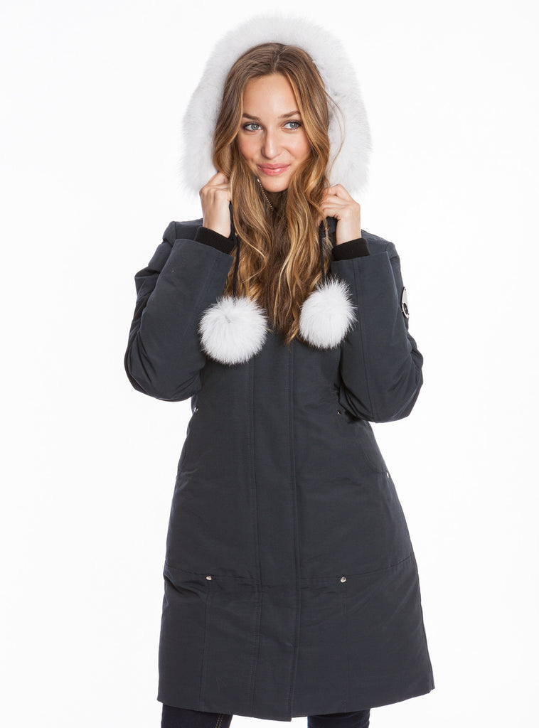 Moose Knuckles - Stirling Parka w/Fur Hood & Pom Poms (Navy/White)
