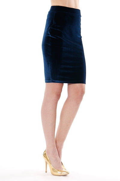 Rosalie Velvet Skirt in Deep Blue