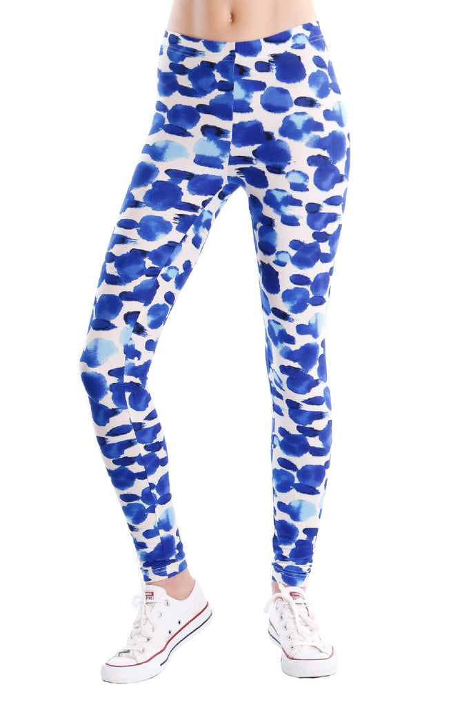 Corey Blue dot soft jersey leggings