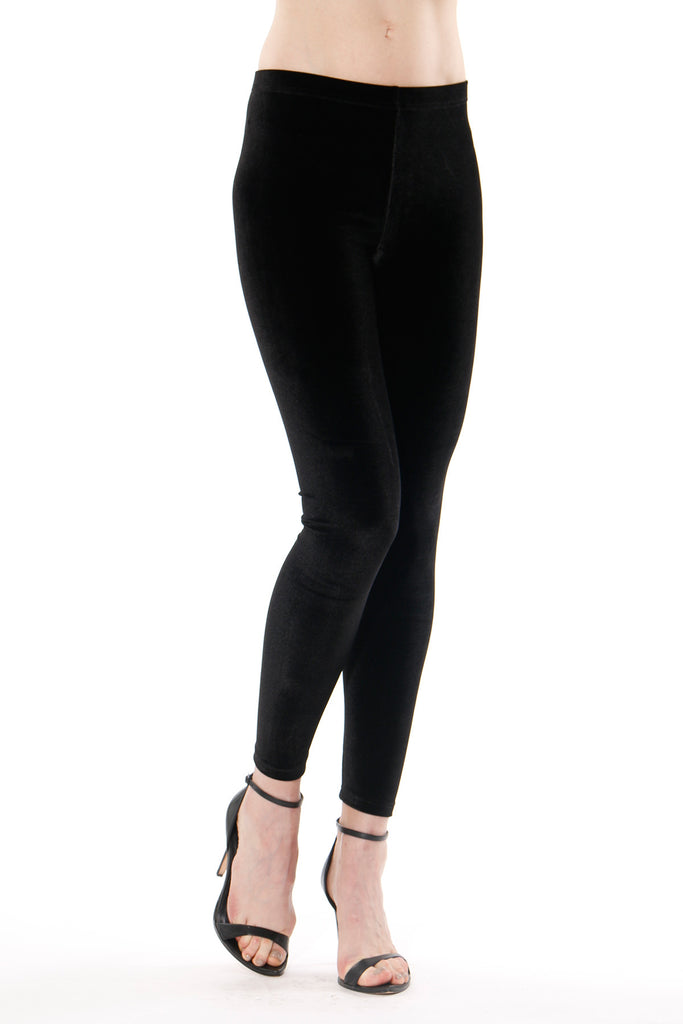 Donia - Black Velvet Leggings