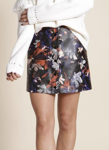 One O Eight - Faux Leather Floral Printed Mini Skirt