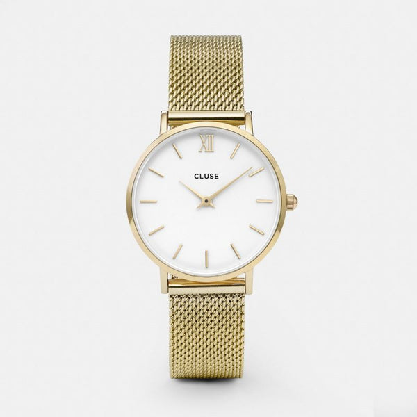 CLUSE WATCH - MINUIT MESH - GOLD/WHITE
